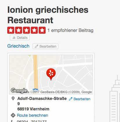 Ionion – griechisch Essen in Viernheim nun auch bei Yelp